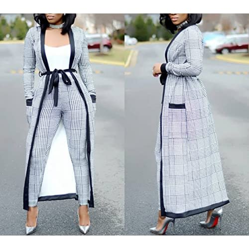 e248c0b2 VERWIN Long Sleeve Plaid Tops and High Waist Skinny Pants Houndstooth  Blazer Outfit 3 Sets cheap