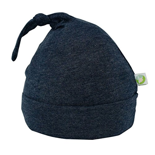 Bum Chicoo Unisex Baby Beanie Hat -Organic Cotton Top Knot Stretchy Soft Hat (Charcoal, 3-6 Months)