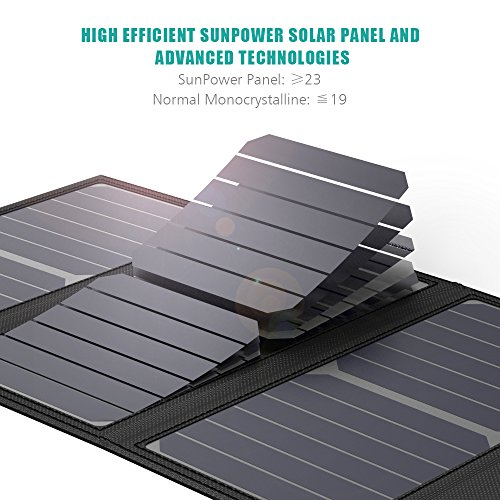 GIARIDE 21W 18V Portable Foldable Solar Charger 5V USB 18V DC Output Sunpower Solar Panel for Tablet, iPad, iPhone, Galaxy, 12V Car/Boat/RV Battery, Travel, Camping by GIARIDE (Image #2)