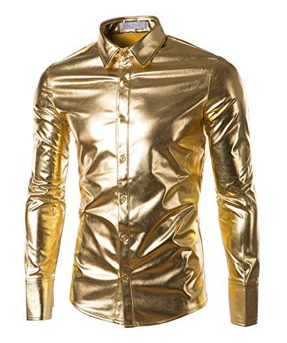 Plumsika Mens Fashion Shiny Nightclub Metallic Silver Button Down Shirts