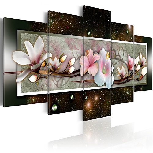 (Magnolia Flower Wall Art Canvas Painting White Pink Floral Picture Contemporary 5 Panels Print Artwork Decor Modern Black Night Background Framed (40