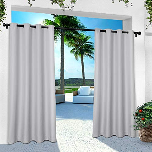 Exclusive Home Indoor/Outdoor Solid Cabana Window Curtain Panel Pair with Grommet Top 54x96 Cloud Grey 2 Piece - Drapes Pair