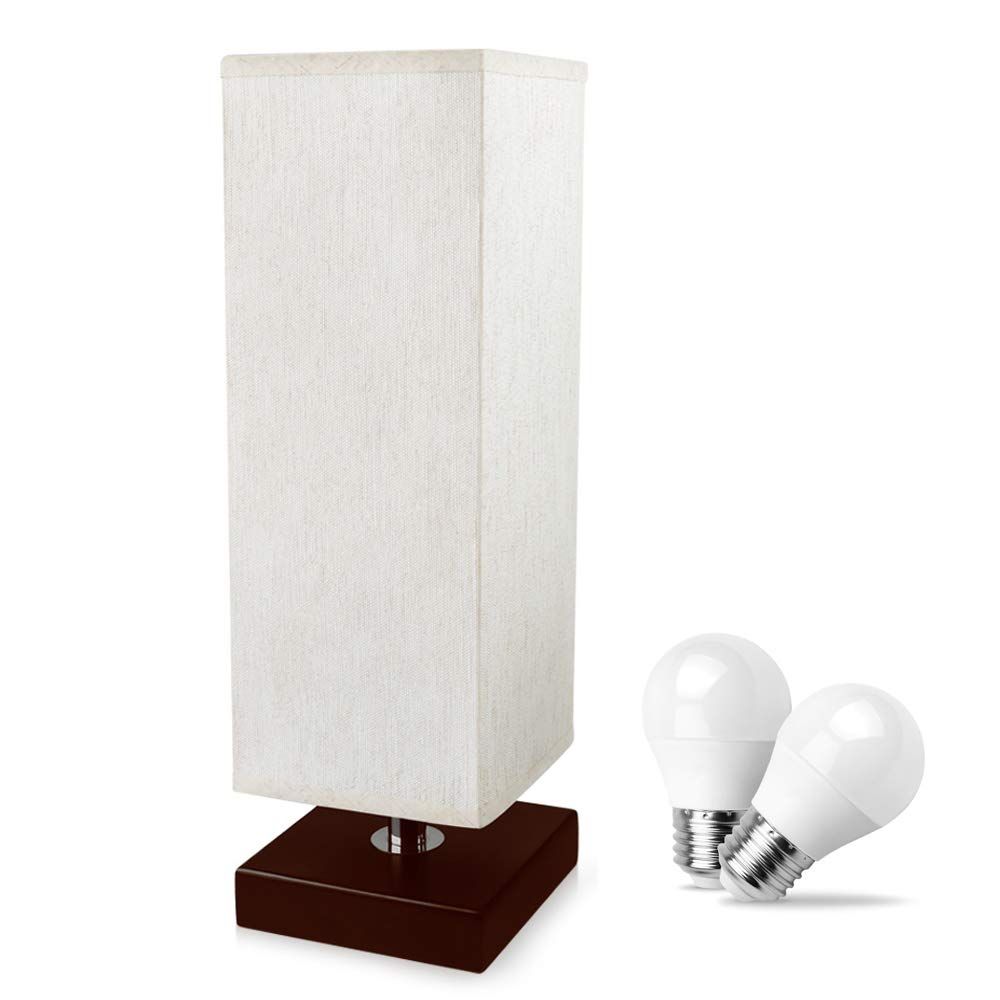 Aooshine Bedside Table Lamp Small, 2PCS LED Bulbs Included, Minimalist Solid Wood Table Lamp with Square Fabric Shade and Havana Brown Wooden Base