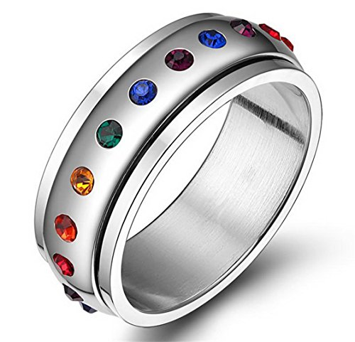 PSRINGS Rotating Spinner Ring Stainless Steel Ring With Rainbow Crystal Multicolor Rhinestone love Pride 7.0