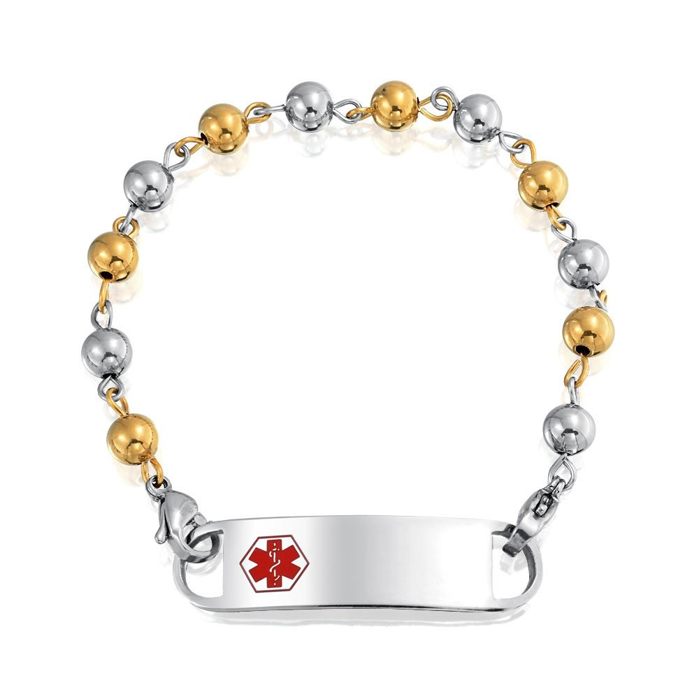 Bling Jewelry Gold Plated Steel 6mm Bead Ball Medical Alert ID Bracelet SGD-XKS131