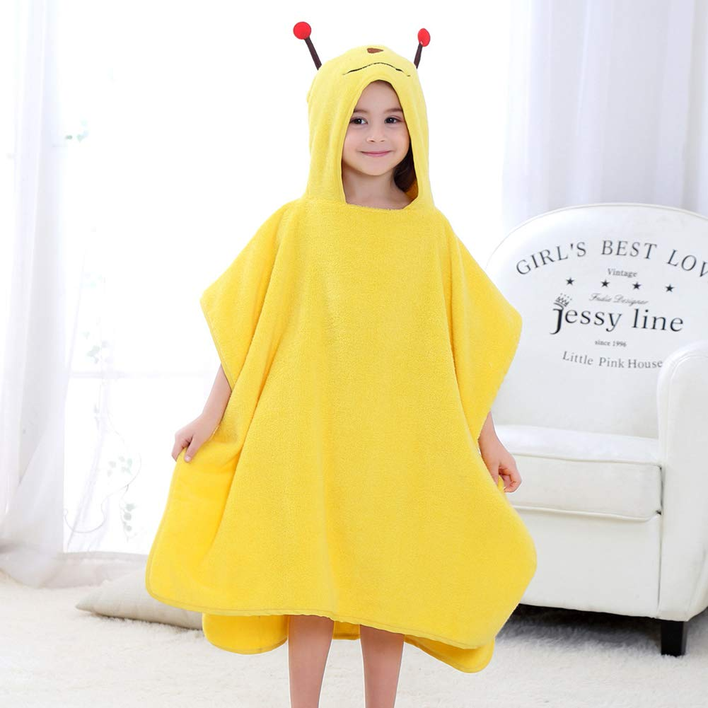 XXRBB Super Soft Large Hooded Towel Cotton Warm Super Absorbent Skin-Friendly Robe,for Baby Kids and Infant Bath Beach Swim,70x140cm(28x55inch),Yellow by XXRBB