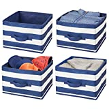mDesign Soft Fabric Closet Storage Organizer Holder Box Bin - Attached Handle, Open Top, for Child/Kids Bedroom, Nursery, Toy Room, Playroom - Wide Stripe Pattern - Medium, Pack of 4, Navy Blue/White