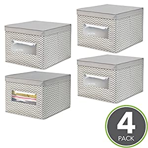 mDesign Soft Stackable Fabric Closet Storage Organizer Holder Box - Clear Window, Attached Hinged Lid for Bedroom, Hallway, Entryway Closets - Zig Zag Chevron Pattern - Large, Pack of 4, Taupe/Natural