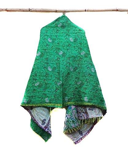 Silk Kantha Scarf Vintage Neck Wrap Stole Dupatta Hand Quilted Women Bandanas