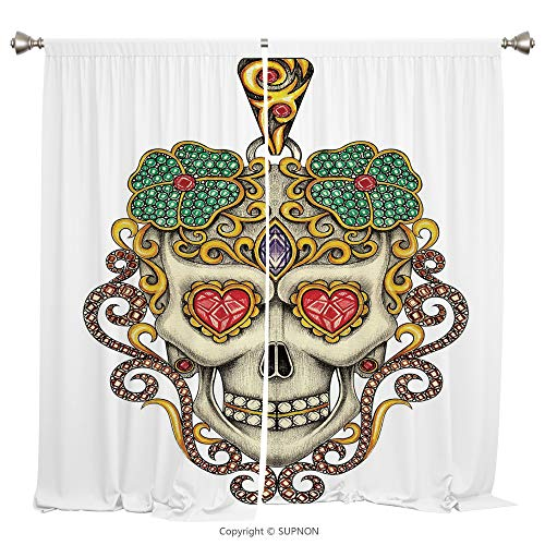 - Rod Pocket Curtain Panel Thermal Insulated Blackout Curtains for Bedroom Living Room Dorm Kitchen Cafe/2 Curtain Panels/84 x 84 Inch/Day Of The Dead,Sugar Skull with Heart Pendants Floral Colorful Des