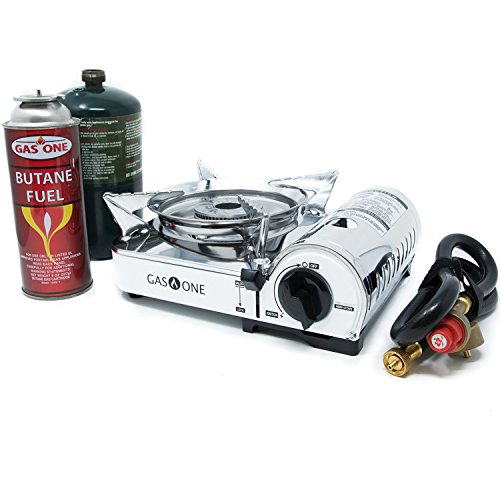 Gas ONE Camp Stove - Propane & Butane GS-800P Mini Dual Fuel Stainless Portable Propane & Butane Camping Stove Burner with piezo Ignition and Carrying Case (Stove) ()