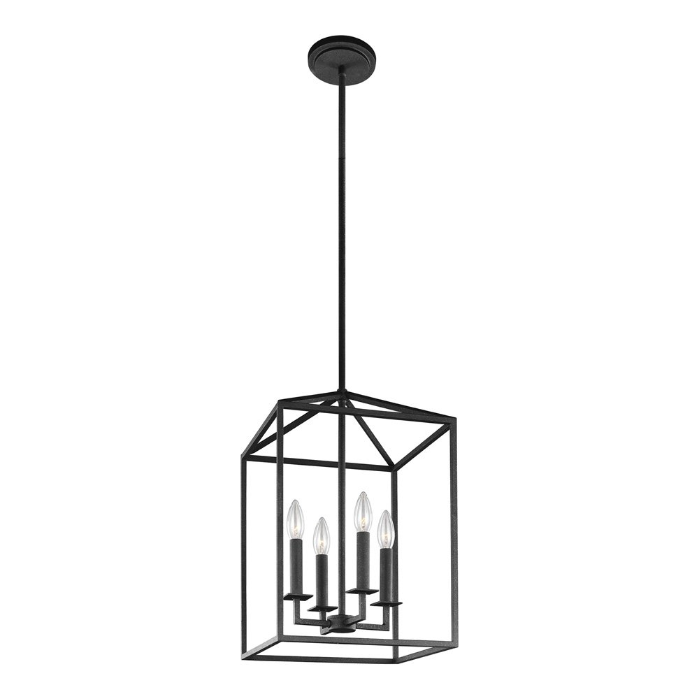 Amazon com sea gull lighting 5115004 839 perryton four light hall or foyer light fixture blacksmith finish home improvement