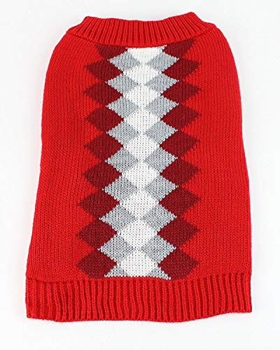 Red Argyle Dog Sweater - Midlee Argyle Dog Sweater (X-Large, Red)