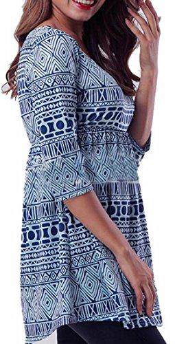 Tunic Blue Print Digital Neck Round Womens Dress Jaycargogo wXqR0w