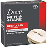 Dove Men+Care Body and Face Bar, Deep Clean, 4 oz, 10 Bar