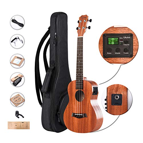Bag Truss (Left Handed - Caramel CT402L All Solid Mahogany Tenor Acoustic & Electric Ukulele With Truss Rod with Aquila Strings, Padded Gig Bag, Strap and EQ cable)