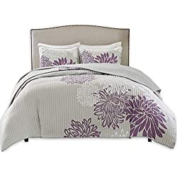 Comfort Spaces – Enya Quilt Mini Set - 3 Piece – Purple and Grey – Floral Printed Pattern – Full/Queen Size, Includes 1 Quilt, 2 Shams