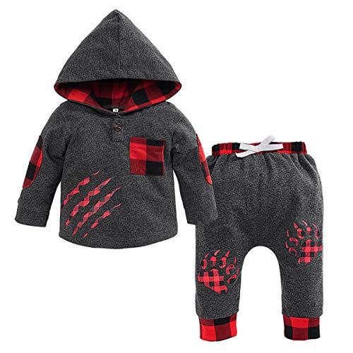 Haokaini 2Stks/set Pasgeboren Baby Jongens Beer Paw Rood Grid Hooded Grijs Outfits Kleding voor Baby