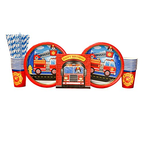5-Alarm Flaming Fire Truck Party Supplies Pack for 16 Guests: Straws, Dinner Plates, Luncheon Napkins, and (Fire Truck Plate)