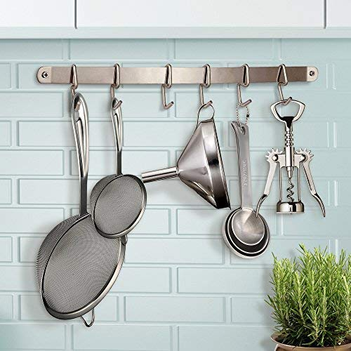 Pro Chef Kitchen Tools Utensil Holder S Hook 6 Pack Set with Hanging Rack - Organize Pots Pans Gadgets On Wall Mounted Hanger Bar Rail - Under Cabinet Shelf Coffee Mug Cup Organizer - Hold Dry Towels