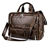 Men's Brown Top-Zip Leather 17 Inch Laptop Handbag Briefcases Tote (Brown)