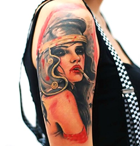 Nuoya001 removable arm tattoo 3d smoking girl tattoo for Dubai tattoo rules