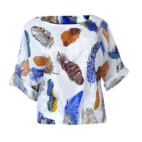 POQOQ Blouse Women Plus Size Feather Print Three Quarter Sleeve O-Neck Pullover -