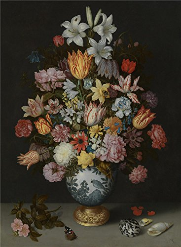 Polyster Canvas ,the Best Price Art Decorative Prints On Canvas Of Oil Painting 'Ambrosius Bosschaert The Elder A Still Life Of Flowers In A Wan Li Vase ', 18 X 25 Inch / 46 X 62 Cm Is Best For Home Office Gallery Art And Home Decor And Gifts (Best Way To Paint Wicker Furniture)
