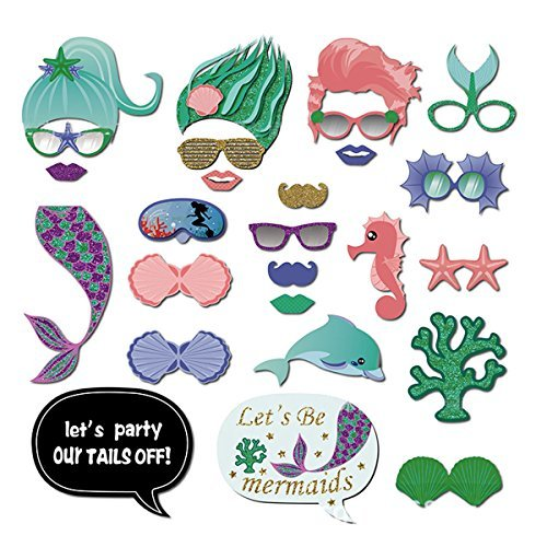 Mermaid Photo Booth Props Seaweed hippocampus starfish Glasses for Mermaid theme Party Decorations 26 PCS/pack -