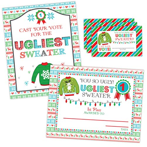 Ugly Sweater Party Sign and Award, Christmas Tacky Sweater Party Decoration, Ugly Sweater Voting Cards, Christmas Party Sign]()