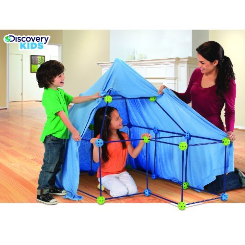 Discovery Kids 77-piece Build and Play Construction Fort Set Boys Girls Gift Indoor Game Fun Birthday Sleepover Toy by Discovery (Discovery Toy Store)