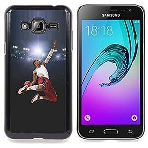"Qstar Arte & diseño plástico duro Fundas Cover Cubre Hard Case Cover para Samsung Galaxy J3(2016) J320F J320P J320M J320Y (Volar Baloncesto héroe"")"