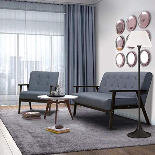 - AODAILIHB Modern Fabric Upholstered Wooden 2-Seat Sofa Set, Sleek Minimalist Loveseat, Sturdy and Durable Double Sofa (Grey-Set)