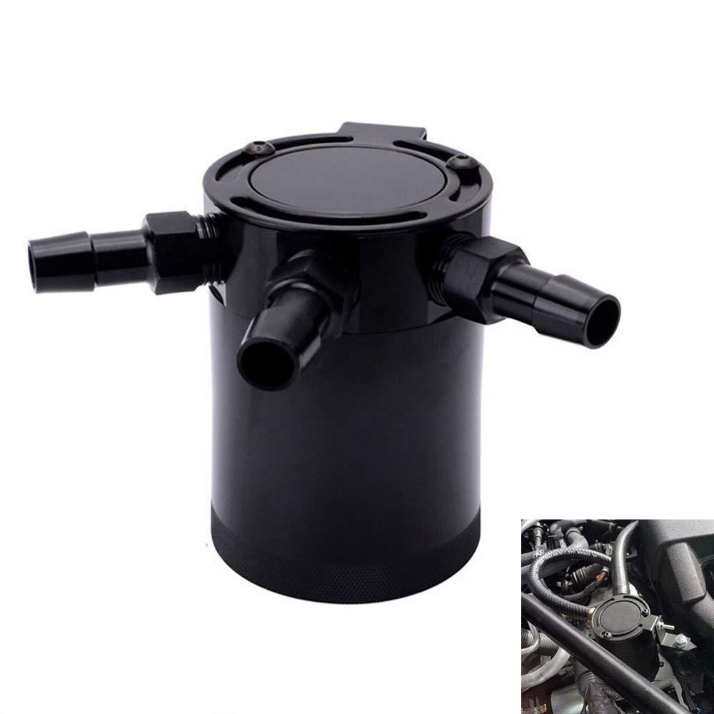 Universal Aluminum Auto Car Racing Baffled 3-Port Oil Catch Can Tank Air-Oil Separator kaling