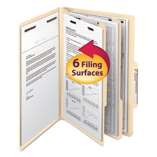 Manila Classification Folders with 2/5 Right Tab, Legal, Six-Section, 10/Box, Sold as 10 Each