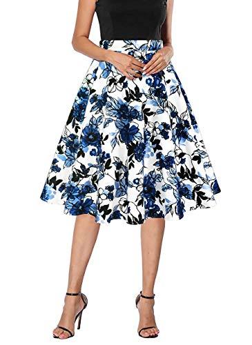 - Yanmei Women's Vintage Skirt Floral Print A-line Midi Skirts Blue White Large 1086-17