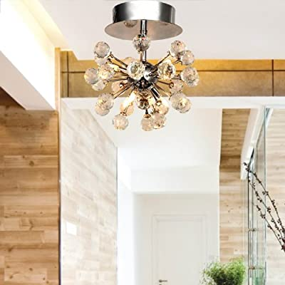 LightInTheBox Max 10W K9 Crystal Chandelier with 6 Lights in Globe Shape, Mini Style Chandeliers Modern Ceiling Light Fixture for Hallway, Bedroom, Living Room Voltage=110-120V