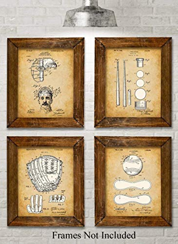 Original Baseball Patent Art Prints - Set of Four Photos (8x10) Unframed - Great Gift for Baseball Players or Boy's Room Decor for $<!--$18.96-->