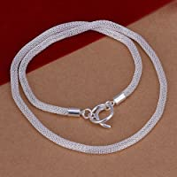 New Women 925 Sterling Silver Plated Mesh 4MM Pendant Necklace Chain Jewelry 20