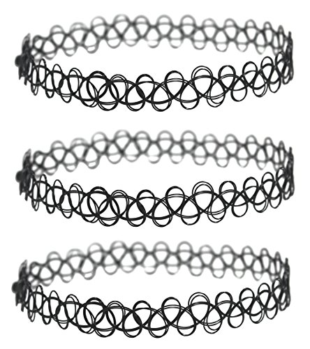 3 Pack - Henna Tattoo Choker Necklace, Black Stretch Chokers by MWY