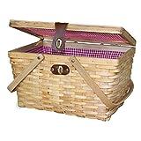 Vintiquewise Large Gingham Lined Picnic Basket