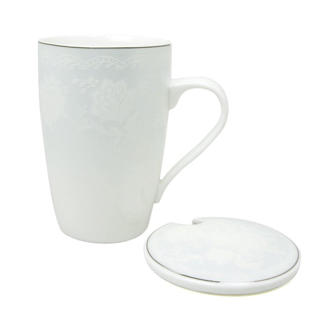 Ziiyan 13オンスセラミックミルクコーヒーマグTea Cup with Lid 13オンス ブルー B0722KDXKF ライトブルー