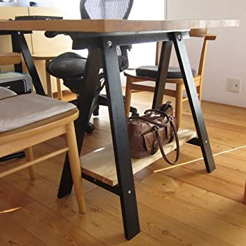 Set of 2 Durable Solid Wood Trestle Legs for Table , Desk or Workstation , Black