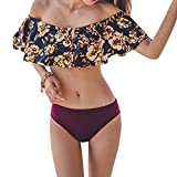 Womens Off The Shoulder Ruffle Bikini Sets Swimsuit Beachwear