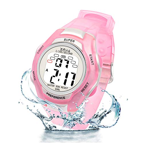 Digital Watches for Kids, 7 Colors LED Light Boys Girls Watch Waterproof Sports Watches Digital Watch with Alarm/Stopwatch, Date & Week and Calendar for Outdoor Sports Watches (Pink)