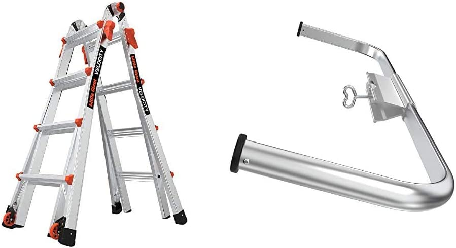 Little Giant Ladders, Velocity, M17, 9-15 Foot, Multi-Position Ladder, Aluminum, Type 1A, 300 lbs Weight Rating, (15417-001) & Wing Span/Wall Standoff