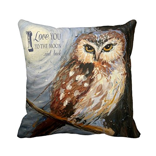 Love You To The Moon and Back Quote Custom Pillow Cover Romantic Anniversary Gift for Her Soft Vintage Owl Throw Pillow Cover Valentine's Day Gift Twin Sides