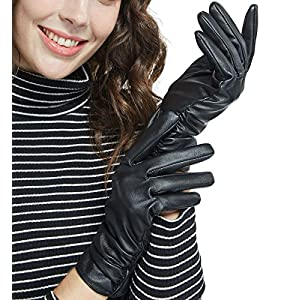 LETHMIK Winter Faux Leather Gloves Womens Driving Touchscreen Texting with Long Wrinkle Sleeves Black-M