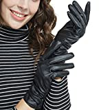 (US) LETHMIK Winter Faux Leather Gloves Womens Driving Touchscreen Texting with Long Wrinkle Sleeves Black-M