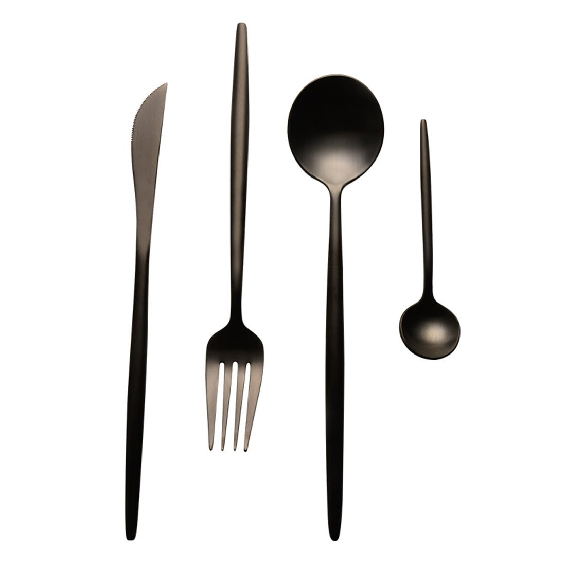 Christmas Tablescape Décor - Sleek matt black 4-pc stainless steel flatware set, Service for 1